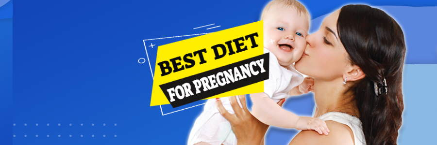 "Image shows a mother and her happy baby with the words ""Best diet for pregnancy"""