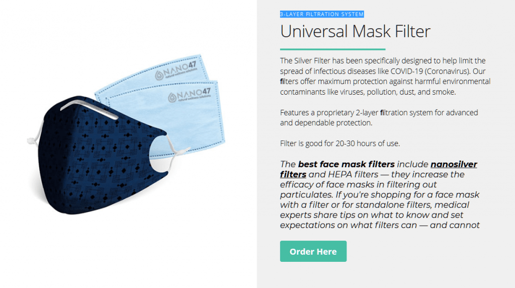 colloidal silver mask filters
